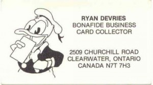 Ryan's Collector Business Cards